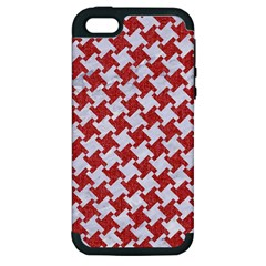 Houndstooth2 White Marble & Red Denim Apple Iphone 5 Hardshell Case (pc+silicone) by trendistuff