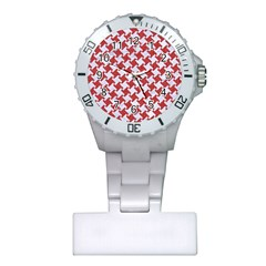 Houndstooth2 White Marble & Red Denim Plastic Nurses Watch by trendistuff