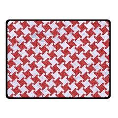 Houndstooth2 White Marble & Red Denim Double Sided Fleece Blanket (small)  by trendistuff
