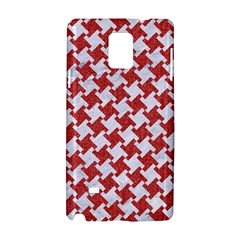 Houndstooth2 White Marble & Red Denim Samsung Galaxy Note 4 Hardshell Case by trendistuff