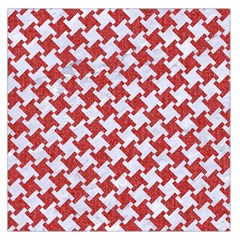 Houndstooth2 White Marble & Red Denim Large Satin Scarf (square) by trendistuff