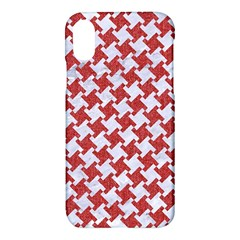 Houndstooth2 White Marble & Red Denim Apple Iphone X Hardshell Case