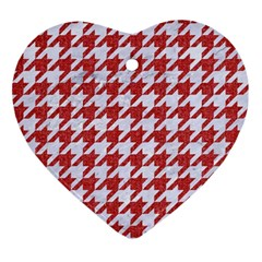 Houndstooth1 White Marble & Red Denim Ornament (heart) by trendistuff