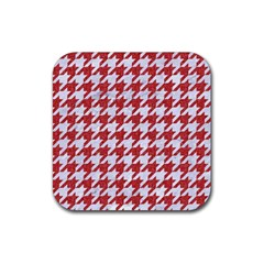 Houndstooth1 White Marble & Red Denim Rubber Coaster (square)