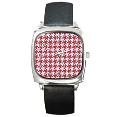 Houndstooth1 White Marble & Red Denim Square Metal Watch by trendistuff