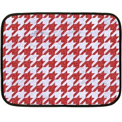 Houndstooth1 White Marble & Red Denim Double Sided Fleece Blanket (mini)  by trendistuff