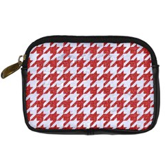 Houndstooth1 White Marble & Red Denim Digital Camera Cases by trendistuff