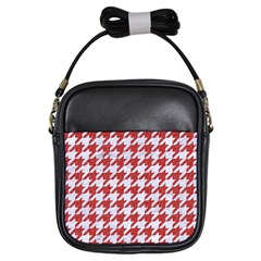Houndstooth1 White Marble & Red Denim Girls Sling Bags by trendistuff
