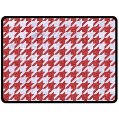 Houndstooth1 White Marble & Red Denim Fleece Blanket (large)  by trendistuff