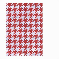 Houndstooth1 White Marble & Red Denim Small Garden Flag (two Sides) by trendistuff