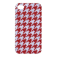 Houndstooth1 White Marble & Red Denim Apple Iphone 4/4s Premium Hardshell Case by trendistuff