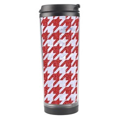 Houndstooth1 White Marble & Red Denim Travel Tumbler by trendistuff