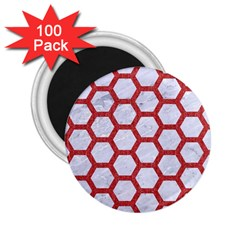 Hexagon2 White Marble & Red Denim (r) 2 25  Magnets (100 Pack)  by trendistuff
