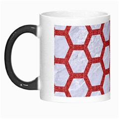 Hexagon2 White Marble & Red Denim (r) Morph Mugs by trendistuff