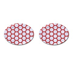 Hexagon2 White Marble & Red Denim (r) Cufflinks (oval) by trendistuff
