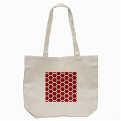 Hexagon2 White Marble & Red Denim Tote Bag (cream) by trendistuff