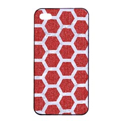 Hexagon2 White Marble & Red Denim Apple Iphone 4/4s Seamless Case (black)