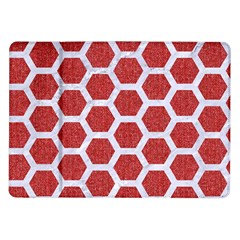 Hexagon2 White Marble & Red Denim Samsung Galaxy Tab 10 1  P7500 Flip Case by trendistuff