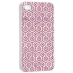 Hexagon1 White Marble & Red Denim (r) Apple Iphone 4/4s Seamless Case (white) by trendistuff