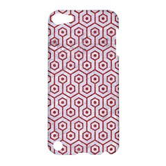 Hexagon1 White Marble & Red Denim (r) Apple Ipod Touch 5 Hardshell Case by trendistuff