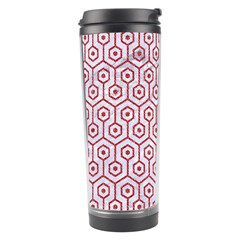 Hexagon1 White Marble & Red Denim (r) Travel Tumbler by trendistuff