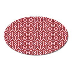 Hexagon1 White Marble & Red Denim Oval Magnet by trendistuff