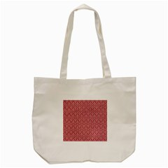 Hexagon1 White Marble & Red Denim Tote Bag (cream) by trendistuff