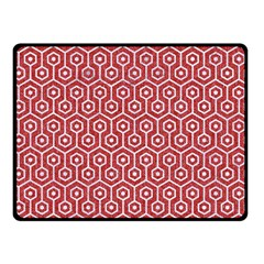 Hexagon1 White Marble & Red Denim Double Sided Fleece Blanket (small)  by trendistuff
