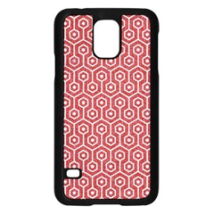 Hexagon1 White Marble & Red Denim Samsung Galaxy S5 Case (black) by trendistuff