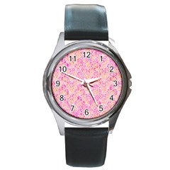 Flower Of Life Paint Pattern 9 Round Metal Watch by Cveti