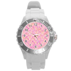 Flower Of Life Paint Pattern 9 Round Plastic Sport Watch (l) by Cveti