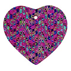 Flower Of Life Paint Pattern 10 Heart Ornament (two Sides) by Cveti