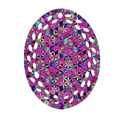Flower Of Life Paint Pattern 10 Oval Filigree Ornament (two Sides) by Cveti