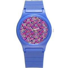 Flower Of Life Paint Pattern 10 Round Plastic Sport Watch (s) by Cveti
