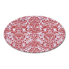 Damask2 White Marble & Red Denim (r) Oval Magnet by trendistuff