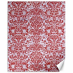 Damask2 White Marble & Red Denim (r) Canvas 16  X 20   by trendistuff
