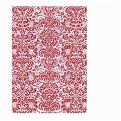 Damask2 White Marble & Red Denim (r) Large Garden Flag (two Sides) by trendistuff