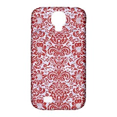 Damask2 White Marble & Red Denim (r) Samsung Galaxy S4 Classic Hardshell Case (pc+silicone) by trendistuff