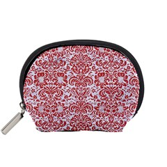 Damask2 White Marble & Red Denim (r) Accessory Pouches (small)  by trendistuff