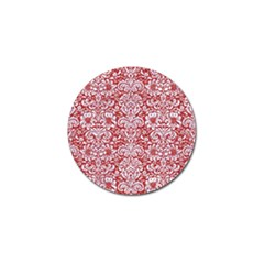 Damask2 White Marble & Red Denim Golf Ball Marker by trendistuff