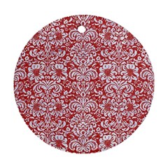 Damask2 White Marble & Red Denim Round Ornament (two Sides) by trendistuff