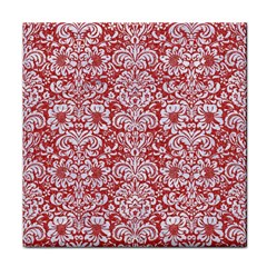 Damask2 White Marble & Red Denim Face Towel by trendistuff