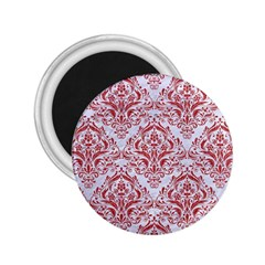 Damask1 White Marble & Red Denim (r) 2 25  Magnets by trendistuff
