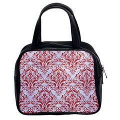 Damask1 White Marble & Red Denim (r) Classic Handbags (2 Sides)