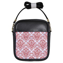 Damask1 White Marble & Red Denim (r) Girls Sling Bags by trendistuff