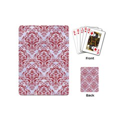 Damask1 White Marble & Red Denim (r) Playing Cards (mini)  by trendistuff