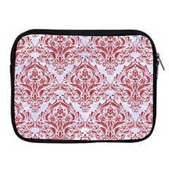 Damask1 White Marble & Red Denim (r) Apple Ipad 2/3/4 Zipper Cases by trendistuff