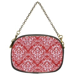 Damask1 White Marble & Red Denim Chain Purses (two Sides)  by trendistuff