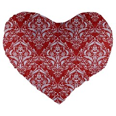Damask1 White Marble & Red Denim Large 19  Premium Flano Heart Shape Cushions by trendistuff