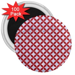 Circles3 White Marble & Red Denim (r) 3  Magnets (100 Pack) by trendistuff
